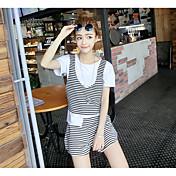 婦人向け お出かけ 夏 セット,シンプル ラウンドネック ソリッド / ストライプ ホワイト / ブラック コットン 半袖 ミディアム