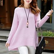 Mujer Regular Pullover Diario Chic de Calle,Un Color Escote Redondo Manga Larga Algodón Invierno Otoño Medio Rígido