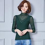 Signo 2017 primavera coreano mujeres de gran tamaño delgada camisa de malla de encaje era fino salvaje bottoming camisa