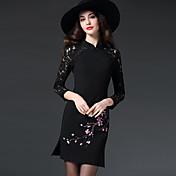 女性 ストリートファッション お出かけ / プラスサイズ シフト ドレス,プリント クルーネック 膝上 長袖 レッド / ブラック ポリエステル 秋 ミッドライズ マイクロエラスティック ミディアム