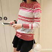 Mujer Regular Pullover Noche Simple Chic de Calle,A Rayas Rosa Escote Redondo Manga Larga Acrílico Primavera Otoño Medio Microelástico