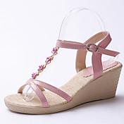 Mujer Zapatos Semicuero Primavera / Verano Sandalias Plataforma / Tacón Cuña Hebilla / Poroso / Flor Blanco / Azul / Rosa