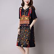 ストリートファッション ルーズ ドレス,プリント ラウンドネック 膝丈 半袖 ブラック コットン / リネン 夏 ミッドライズ 伸縮性なし