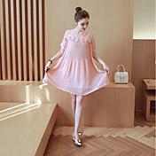 Mujer Tallas Grandes Corte Ancho Vestido - Estilo moderno, Un Color Sobre la rodilla