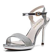 Mujer Zapatos Purpurina Verano Sandalias Tacón Stiletto Con Lentejuela Hebilla Poroso Para Casual Vestido Fiesta y Noche Plata Glod