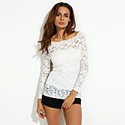 Mujer Simple Casual/Diario Otoño Camiseta,Escote Barco Un Color Manga Larga Licra Rojo / Blanco / Negro Medio