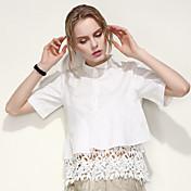 ARNE® Mujer Cuello Camisero Manga Corta Camisa y blusa Blanco-B007