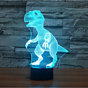 恐竜タッチディミング3dは夜の光を導いた7colorful装飾雰囲気のランプノベルティ照明ライト