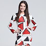 女性用 プラスサイズ ボディコン シース Tシャツ ドレス 幾何学模様