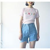 Mujer Casual Microelástico Vaqueros Pantalones,Un Color Algodón Verano