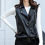婦人向け カジュアル/普段着 秋 レザージャケット,シンプル スタンド ソリッド ブラック ポリウレタン ノースリーブ ミディアム