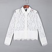 女性 カジュアル/普段着 夏 シャツ,シンプル シャツカラー ソリッド ホワイト 長袖 半透明