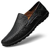 Hombre Zapatos de taco bajo y Slip-Ons Confort Mocasín Suelas con luz Cuero Primavera Verano Informal Paseo Tacón PlanoNegro Amarillo
