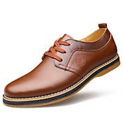 男性用 靴 レザー 春 秋 コンフォートシューズ オックスフォードシューズ ウォーキング 編み上げ のために 結婚式 オフィス&キャリア ブラック Brown