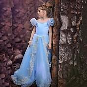 Vestido de menina de flor com vestido de linha a linha - organza mangas curtas pescoço de jóias com bordado por minuto