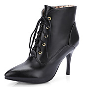 Mujer-Tacón Stiletto-Botas a la Moda-Botas-Oficina y Trabajo Vestido Informal-Semicuero-Negro Blanco Oro
