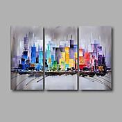 手描きの 抽象画 風景 油彩画,Modern 3枚 キャンバス ハング塗装油絵 For ホームデコレーション