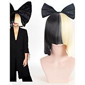 女性 人工毛ウィッグ ショート丈 ストレート ブラック バング付き コスプレ用ウィッグ パーティー用ウィッグ コスチュームウィッグ