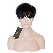 Corte Recto Corte Pixie Con flequillo Hecho a Máquina Cabello humano pelucas Corta Marrón Oscuro