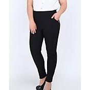 Mujer Casual Tiro Alto Microelástico Ajustado Chinos Pantalones,Un Color Nailon Otoño
