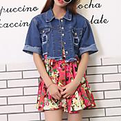 女性 カジュアル/普段着 夏 デニムジャケット,ストリートファッション シャツカラー ソリッド ブルー コットン 半袖 ミディアム