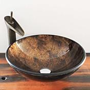 Antiguo T12*Φ420*H145MM Redondo material del disipador es Vidrio TempladoLavabo de Baño / Grifería de Baño / Anillo de Montura de Baño /