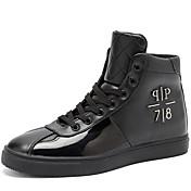 Hombre Zapatos PU Otoño Invierno Confort Zapatillas de deporte Con Cordón Para Casual Blanco Negro Rojo