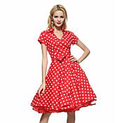 De las mujeres Corte Swing Vestido Formal / Trabajo / Tallas Grandes Vintage,A Lunares Cuello Camisero Hasta la Rodilla Manga CortaAzul /