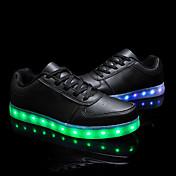 Unisex-Tacón Bajo-Confort Light Up Zapatos-Zapatillas de deporte-Exterior Informal Deporte-Cuero-Negro Blanco