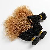 Cabello Brasileño Rizado / Ondulado Medio Cabello Virgen Ombre 3 paquetes 18pulgada Cabello humano teje Negro / Strawberry Blonde