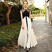 女性 ヴィンテージ お出かけ スウィング ドレス,水玉 / カラーブロック ラウンドネック マキシ ノースリーブ ホワイト モーダル 夏 ハイライズ 伸縮性あり ミディアム