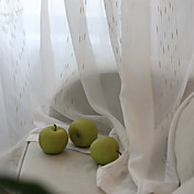 Corredizo Anillo Lazo de tela Doble plisado Solo plisado Dos Paneles Ventana Tratamiento Modern , Jacquard Rayas Dormitorio Poliéster