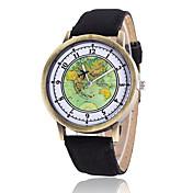Mulheres Relógio de Moda Relógio de Pulso Quartzo Tecido Banda Vintage Casual Padrão Mapa do MundoPreta Branco Azul Vermelho Marrom Verde