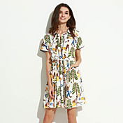 De las mujeres Corte Ancho Vestido Noche Vintage,Arco iris Escote Chino Sobre la rodilla Manga Corta Multicolor Algodón Verano