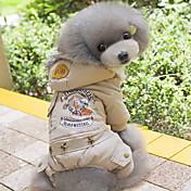 Perro Abrigos Saco y Capucha Mono Ropa para Perro Casual/Diario Moda Letra y Número Gris Verde Disfraz Para mascotas