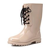 Mujer Zapatos PU PVC Otoño Botas de lluvia Botas Dedo redondo Mitad de Gemelo Para Casual Negro Almendra Borgoña