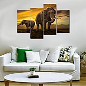 Animal Realismo,Cuatro Paneles Lienzos cualquier Forma Estampado Decoración de pared For Decoración hogareña