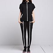 女性 カジュアル/普段着 春 / 夏 セット パンツ スーツ,シンプル / ストリートファッション フード付き カラーブロック ブラック コットン 半袖 ミディアム