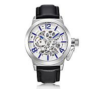 男性用 スケルトン腕時計 リストウォッチ 機械式時計 自動巻き 耐水 透かし加工 夜光計 本革 バンド ビンテージ クール ラグジュアリー ブラック ブラウン
