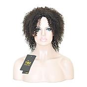 人間の毛のキャップレスウィッグ ブラック ミディアム丈 アフロ サイドパート