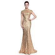 Trompeta / Sirena Joya Larga Lentejuelas Baile de Promoción Evento Formal Vestido con Lentejuelas por TS Couture®