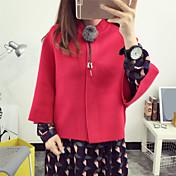 Regular Cardigan Chic de Calle,Un Color Azul Rojo Gris Amarillo Escote Redondo Manga Larga Algodón Otoño Medio Rígido