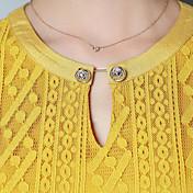 サイン秋新しい女性' sのラウンドネックのレースのトランペットの袖のシャツのレースのシャツ長袖シャツ小さなシャツ