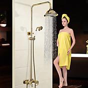 Tradicional Modern Sistema ducha Cascada Separado Alcachofa incluida Válvula Cerámica 2 Orificios Sola manija Dos Agujeros Cromo , Grifo
