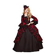 Victoriano Rococó Mujer Una Sola Pieza Vestidos Rojo Cosplay Tela de Encaje Algodón Manga Larga Poeta Hasta el Suelo