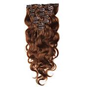 clip de 70-100g en extensiones de cabello humano brasileño virginal pinza de pelo en el cuerpo de la castaña de onda de color marrón