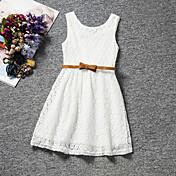 91729bbd881a Børn Pige Sød Fest   Daglig   Fødselsdag Ensfarvet Blonder Uden ærmer  Normal Normal Kjole Hvid