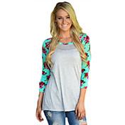 Mujer Chic de Calle Noche Camiseta Floral