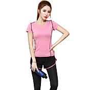 Mujer Camiseta de running Manga Corta Secado rápido Transpirable Camiseta Top para Yoga Ejercicio y Fitness Running Modal Delgado Morado