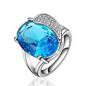 指輪 パーティー 日常 カジュアル ジュエリー クリスタル ジルコン 銅 ゴールドメッキ 指輪 1個,7 8 シャム